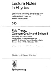 Cover of: Field theory, quantum gravity, and strings II |