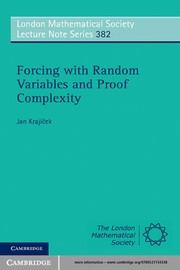 Cover of: Forcing with random variables and proof complexity | Jan KrajГ­ДЌek