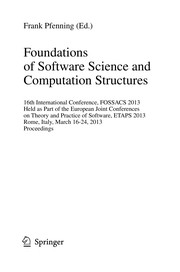 Cover of: Foundations of Software Science and Computation Structures | Frank Pfenning