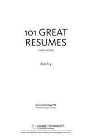 Cover of: 101 great resumes | Ronald W. Fry