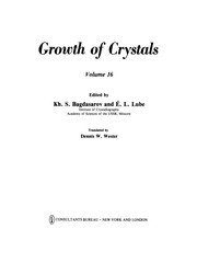Cover of: Growth of Crystals | Kh. S. Bagdasarov