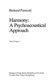 Cover of: Harmony: A Psychoacoustical Approach