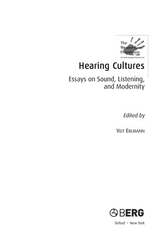 Hearing cultures by edited by Veit Erlmann.