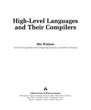 Cover of: High-level languages and their compilers | Des Watson