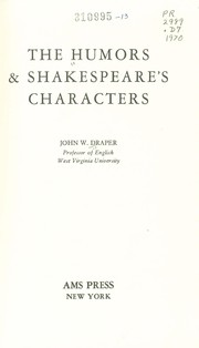 Cover of: The humors & Shakespeare's characters