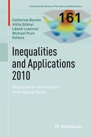 Cover of: Inequalities and Applications 2010 | Catherine Bandle