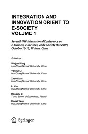 Cover of: Integration and innovation orient to e-society | IFIP International Conference on e-Business, e-Services, and e-Society (7th 2007 Wuhan, China)