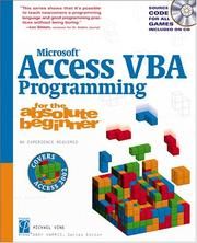 Cover of: Microsoft Access VBA Programming for the Absolute Beginner | Michael Vine