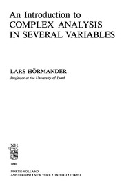 Cover of: An introduction to complex analysis in several variables