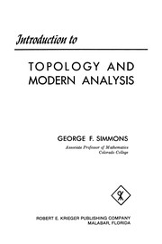 Cover of: Introduction to topology and modern analysis | Simmons, George Finlay