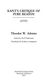 Cover of: Kants Critique of pure reason, 1959