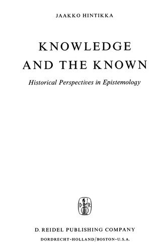 Knowledge and the known by Jaakko Hintikka