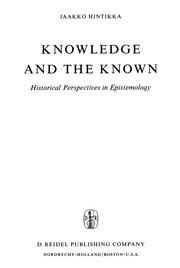 Cover of: Knowledge and the known | Jaakko Hintikka