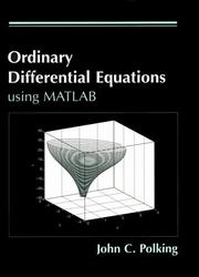 Cover of: MATLAB manual, ordinary differential equations | John C. Polking
