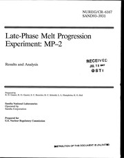 Cover of: Late-phase melt progression experiment, MP-2 | R. D. Gasser