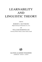 Cover of: Learnability and Linguistic Theory | Robert J. Matthews