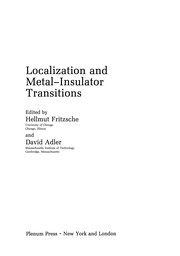 Cover of: Localization and Metal-Insulator Transitions | Hellmut Fritzsche