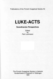Cover of: Luke-Acts, Scandinavian Perspectives | Petri Luomanen