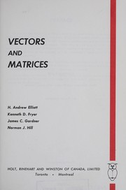 Cover of: Vectors and matrices |