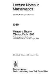 Cover of: Measure theory, Oberwolfach 1983 |