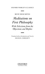 Cover of: Meditations on First Philosophy | René Descartes