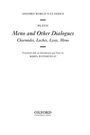 Cover of: Meno and other dialogues: Charmides, Laches, Lysis, Meno