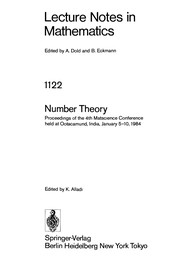 Cover of: Number theory | Matscience Conference on Number Theory (4th 1984 Udagamandalam, India)