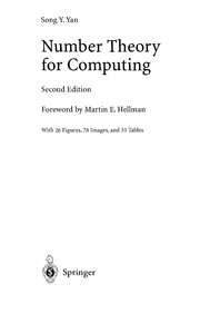 Cover of: Number theory for computing | Song Y. Yan