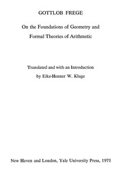 Cover of: On the foundations of geometry and formal theories of arithmetic | Gottlob Frege