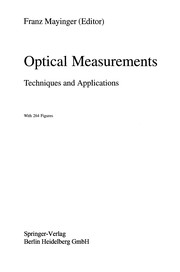 Cover of: Optical Measurements | Franz Mayinger