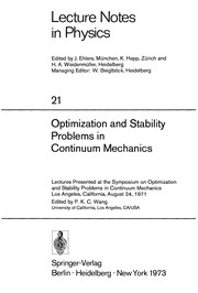 Cover of: Optimization and stability problems in continuum mechanics