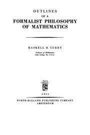 Cover of: Outlines of a formalist philosophy of mathematics
