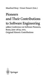Cover of: Pioneers and Their Contributions to Software Engineering | Manfred Broy