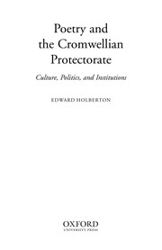 Cover of: Poetry and the Cromwellian Protectorate | Edward Holberton