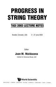 Cover of: Progress in string theory |