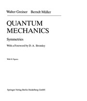 Cover of: Quantum mechanics, symmetrics