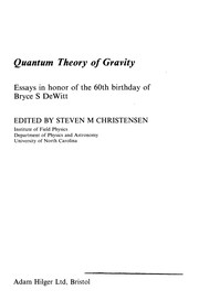 Cover of: Quantum theory of gravity |