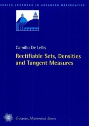Cover of: Rectifiable sets, densities and tangent measures | Camillo De Lellis