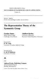 Cover of: The representation theory of the symmetric group | James, G. D.