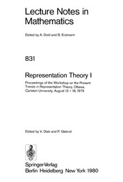 Cover of: Representation theory | Workshop on the Present Trends in Representation Theory (1979 Carleton University)
