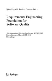 Cover of: Requirements Engineering: Foundation for Software Quality | Björn Regnell