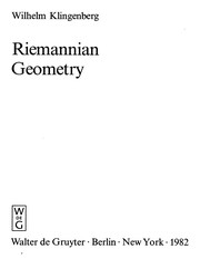 Cover of: Riemannian geometry | Wilhelm Klingenberg