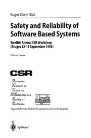Cover of: Safety and Reliability of Software Based Systems | Roger Shaw