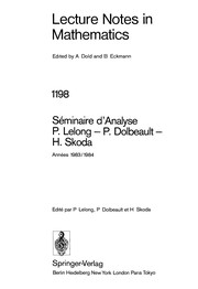 Cover of: Séminaire d'analyse P. Lelong-P. Dolbeault-H. Skoda