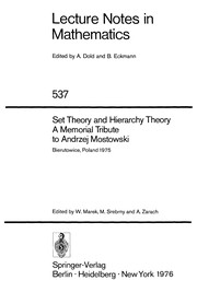Cover of: Set theory and hierarchy theory | Conference on Set Theory and Hierarchy Theory Bierutowice, Poland 1975.