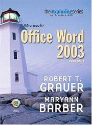 Cover of: Exploring Microsoft Word 2003 Volume 1 (6th Edition) (Grauer Exploring Office 2003 Series)