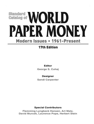 Standard catalog of world paper money by George S. Čuhaj