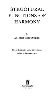 Cover of: Structural functions of harmony | Arnold Schoenberg