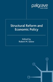 Cover of: Structural reform and economic policy