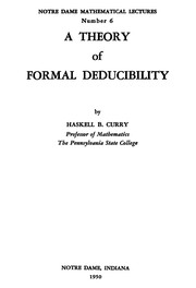 Cover of: Theory of Formal Deducibility